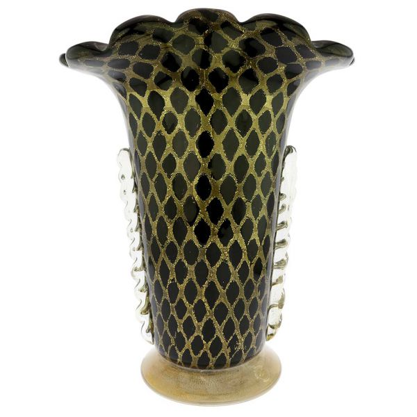 Murano Glass Golden Net Vase - Black