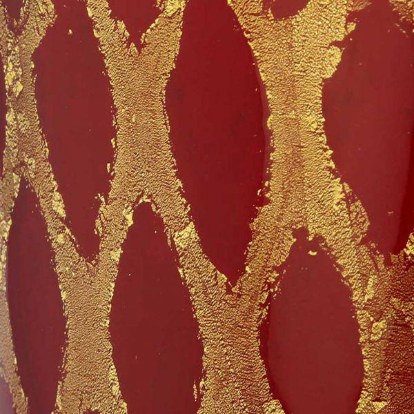 Murano Glass Golden Net Vase - Red