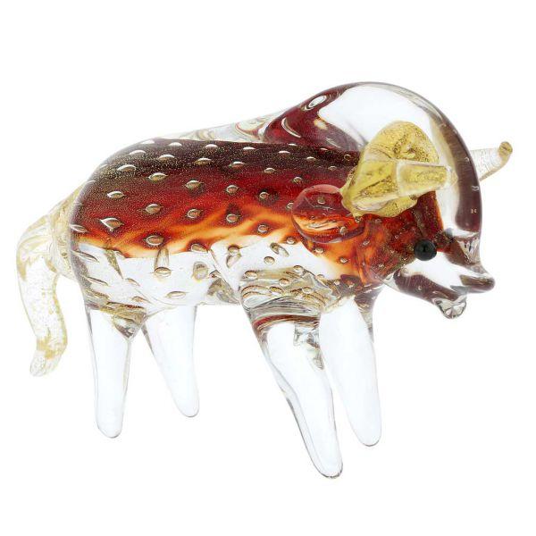 Murano Glass Bull or Taurus - Red