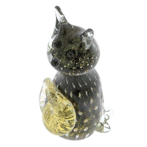 Murano Glass Bullicante Cat - Black