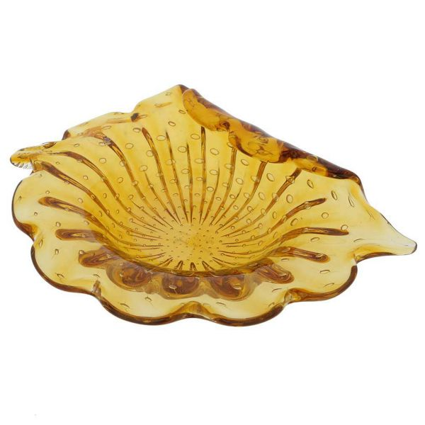 Murano Glass Bullicante Leaf Bowl - Golden Brown