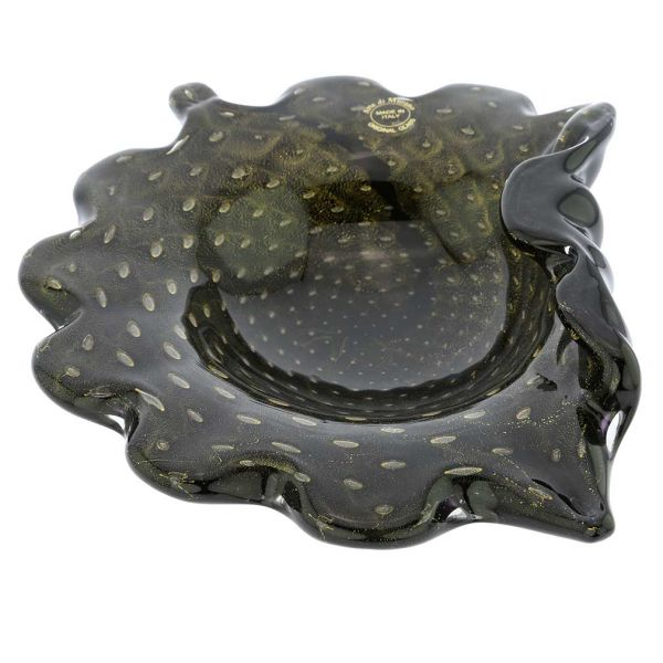 Murano Glass Bullicante Leaf Bowl - Black