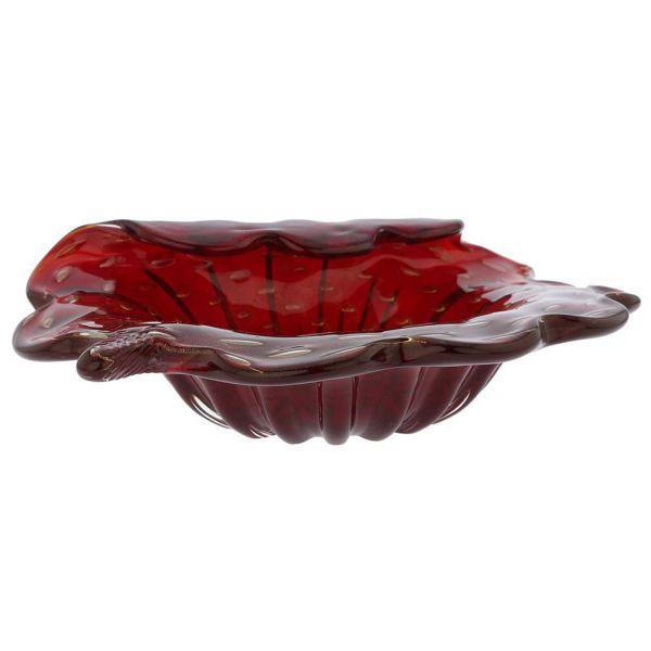 Murano Glass Bullicante Leaf Bowl - Red