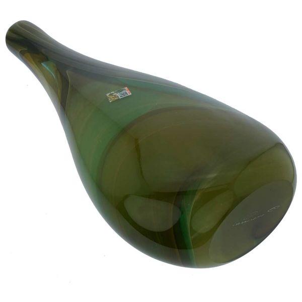 Murano Art Glass Vase - Green Brown