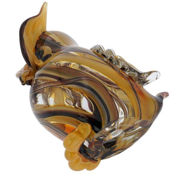 Murano Art Glass Owl - Golden Brown Waves