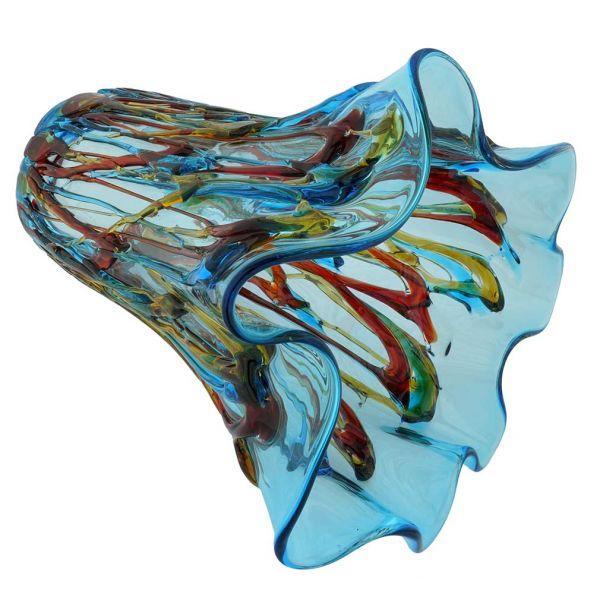 Murano Glass Oceanos Abstract Art Vase - Aqua