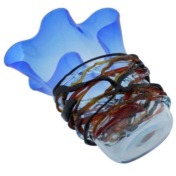 Murano Glass Vesuvio Fazzoletto Vase - Blue