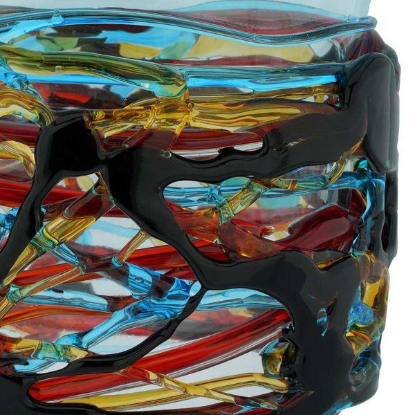 Murano Glass Vesuvio Oval Vase - Aqua Blue