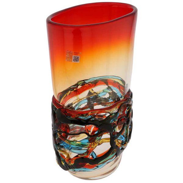Murano Glass Vesuvio Oval Vase