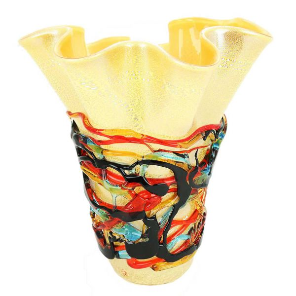 Murano Glass Vesuvio Abstract Art Vase