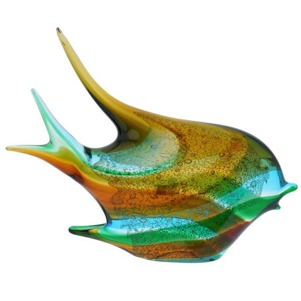 Murano Art Glass Wide Angel Fish - Green Blue Brown