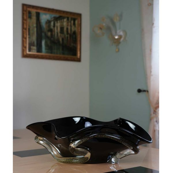 Murano Glass Centerpiece Bowl - Black and Gold