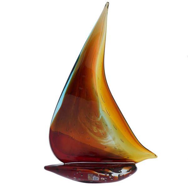 Art Glass Large Sailboat - Rainbow
