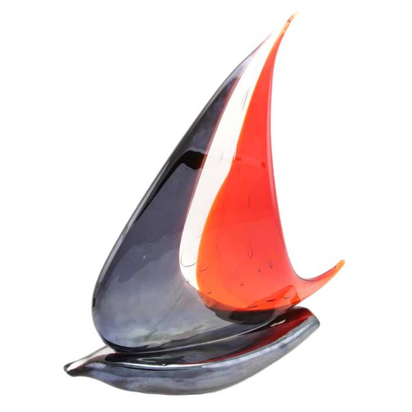 Murano Art Glass Large Sailboat - Red and Purple
