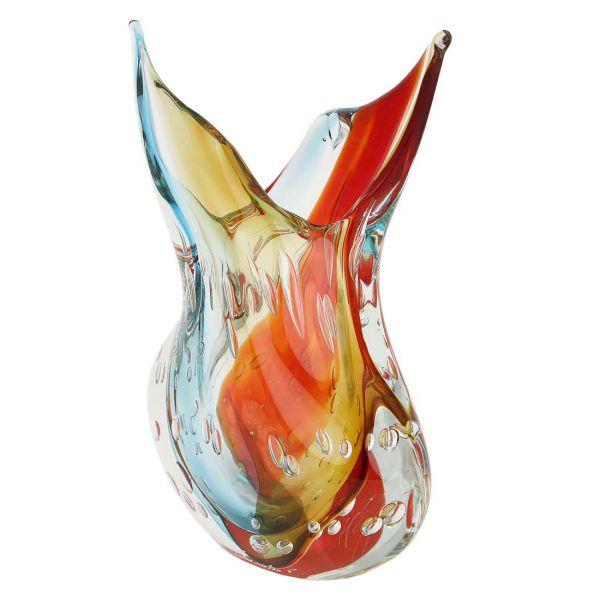 Murano Art Glass Sommerso Leaves Vase - Venetian Sunrise