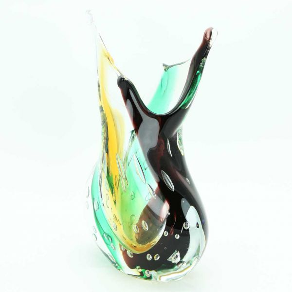 Murano Art Glass Sommerso Vase - Land and Sea