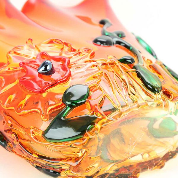 Murano Glass Abstract Flower Vase - Red