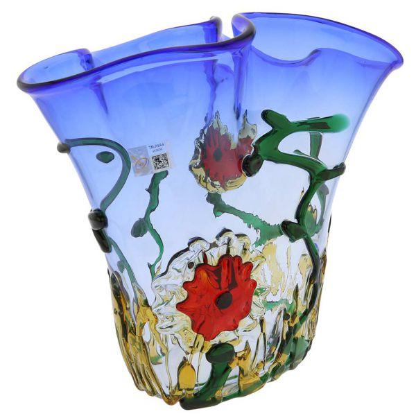 Murano Glass Abstract Flower Vase - Blue