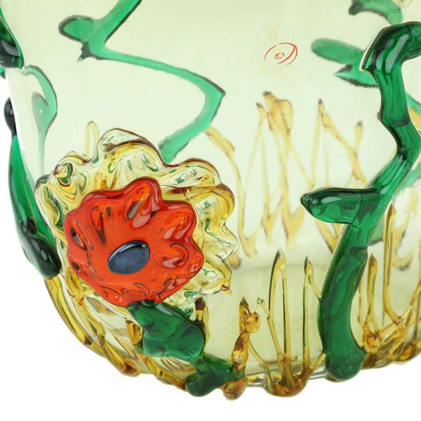 Murano Glass Tall Abstract Flower Vase
