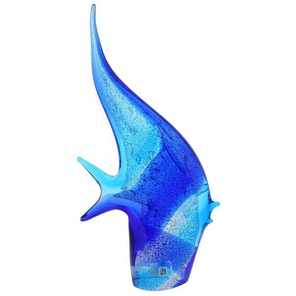 Murano Art Glass Angel Fish - Aqua Blue