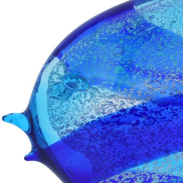 Murano Art Glass Wide Angel Fish - Aqua Blue
