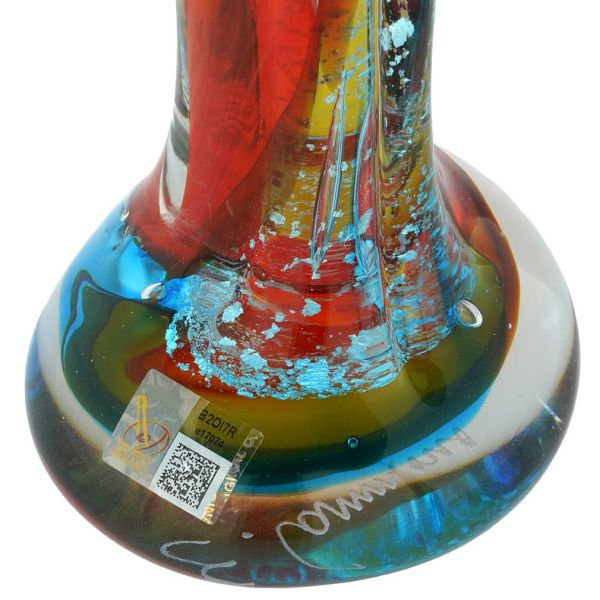 Murano Glass Large Lovers Statue - Red Green Blue