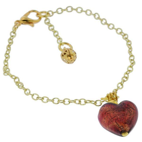 Murano Glass Heart Charm Bracelet - Red
