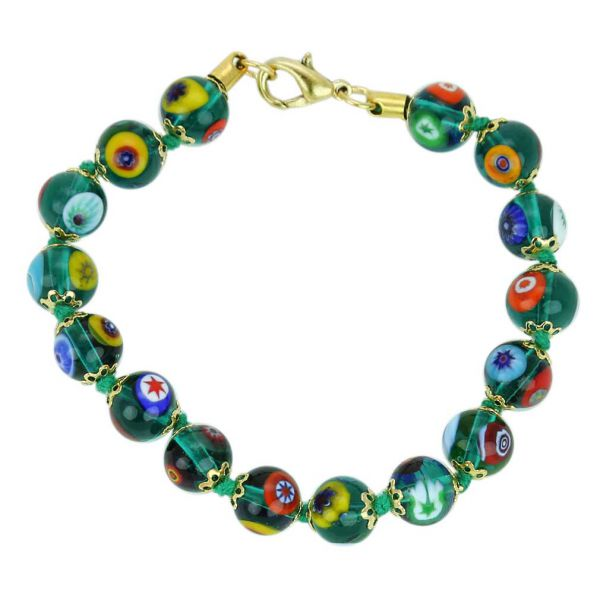 Murano Mosaic Bracelet - Transparent Green