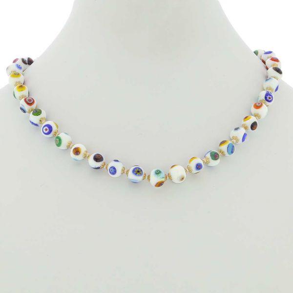 Murano Mosaic Necklace - White