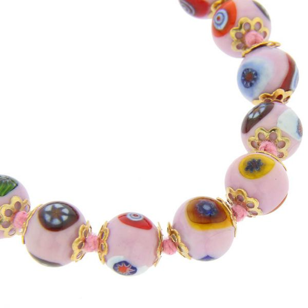 Murano Mosaic Necklace - Pink