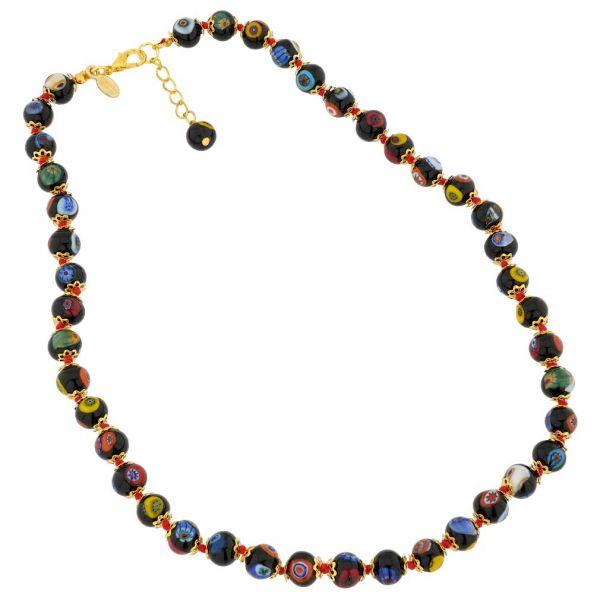 Murano Mosaic Necklace - Black