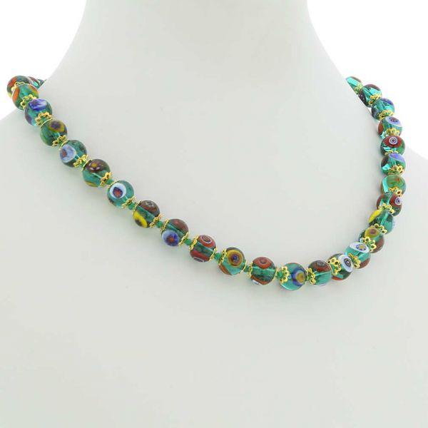 Murano Mosaic Necklace - Transparent Green