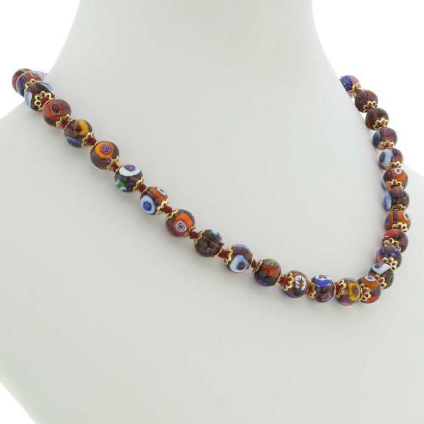 Murano Mosaic Necklace - Transparent Purple