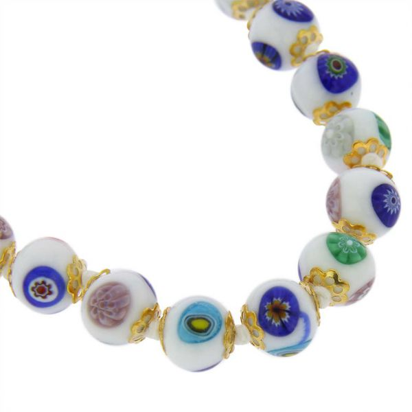 Murano Mosaic Long Necklace - White