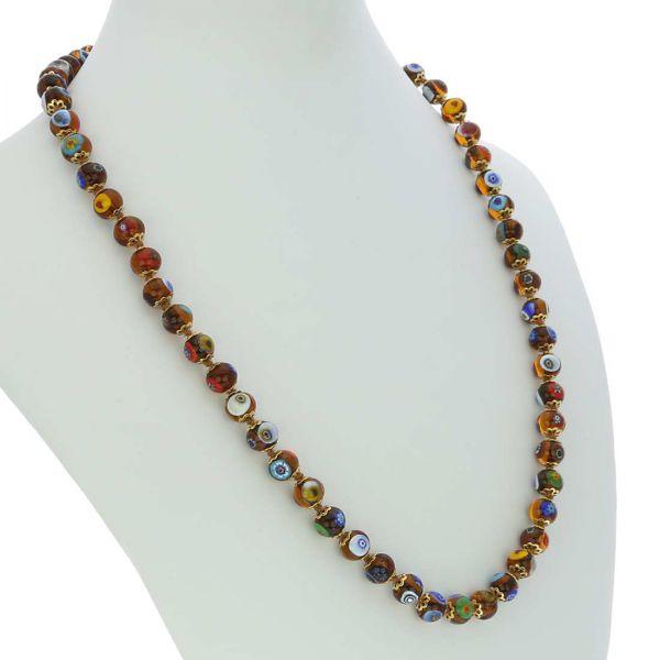 Murano Mosaic Long Necklace - Transparent Golden Brown