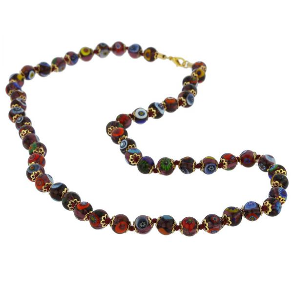 Murano Mosaic Long Necklace - Transparent Purple