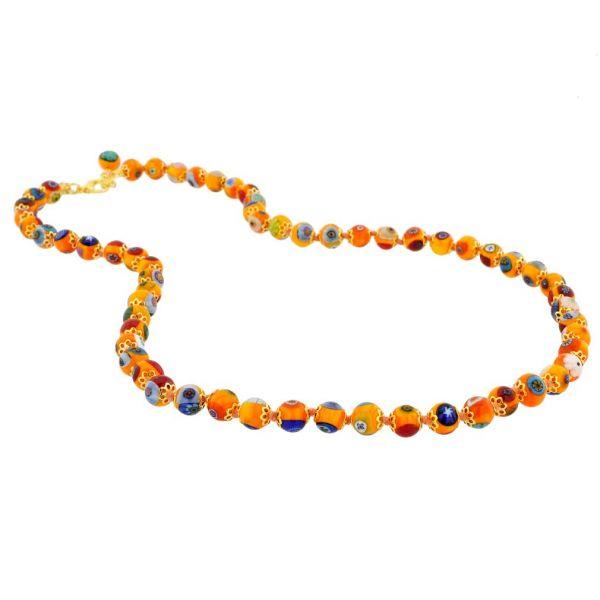 Murano Mosaic Long Necklace - Orange