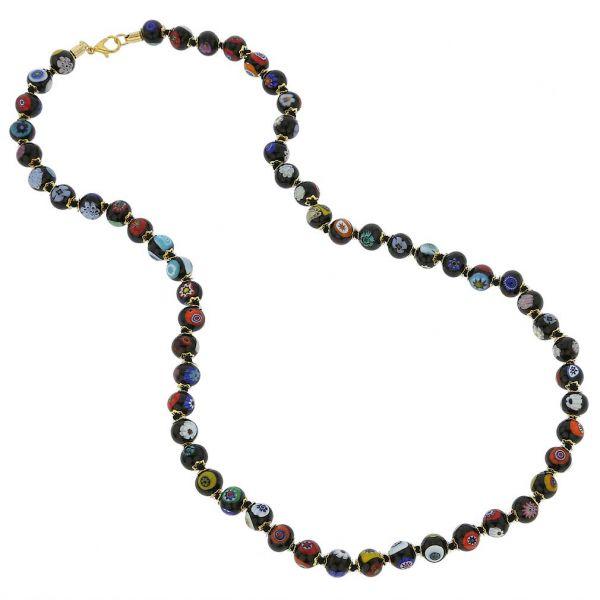 Murano Mosaic Long Necklace - Black