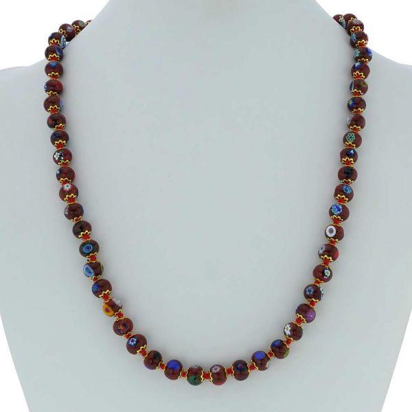 Murano Mosaic Long Necklace - Burgundy