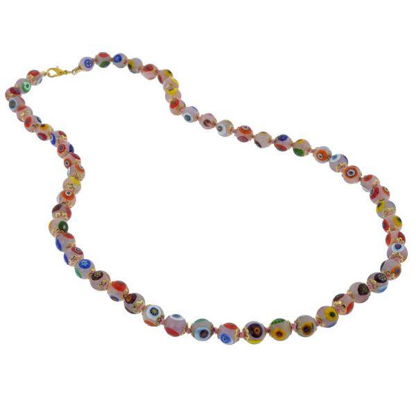 Murano Mosaic Long Necklace - Pink