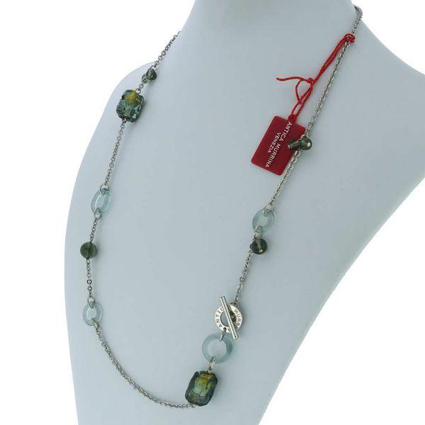 Air Murano Necklace - Silver Grey