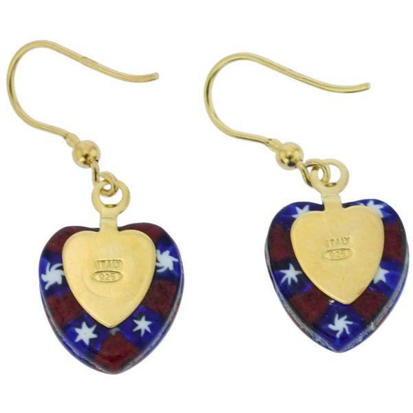 Millefiori Heart Earrings - Gold