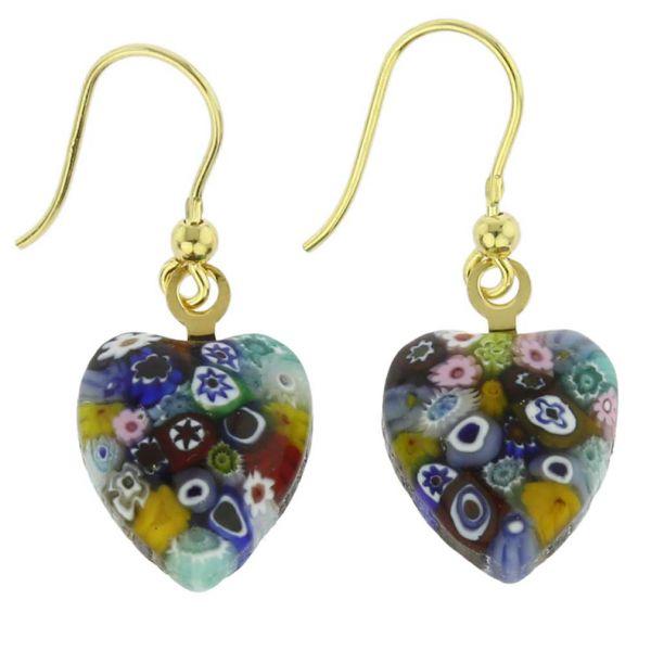 Millefiori Heart Earrings - Gold Multicolor