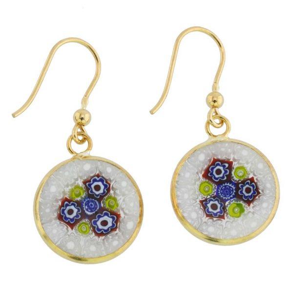 Millefiori Round Dangle Earrings - Gold