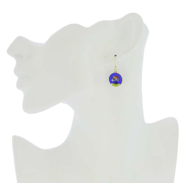 "Millefiori Round Dangle Earrings \""Tree Of Life\"" - Gold"