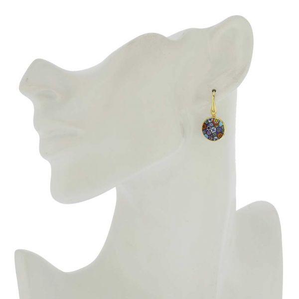 "Millefiori Round Dangle Earrings \""Multicolor\"" - Gold"