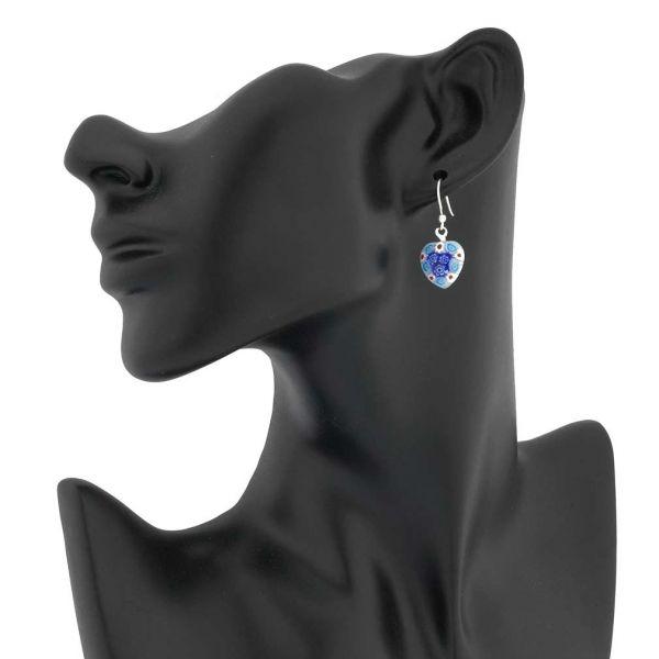 Millefiori Heart Earrings- Silver
