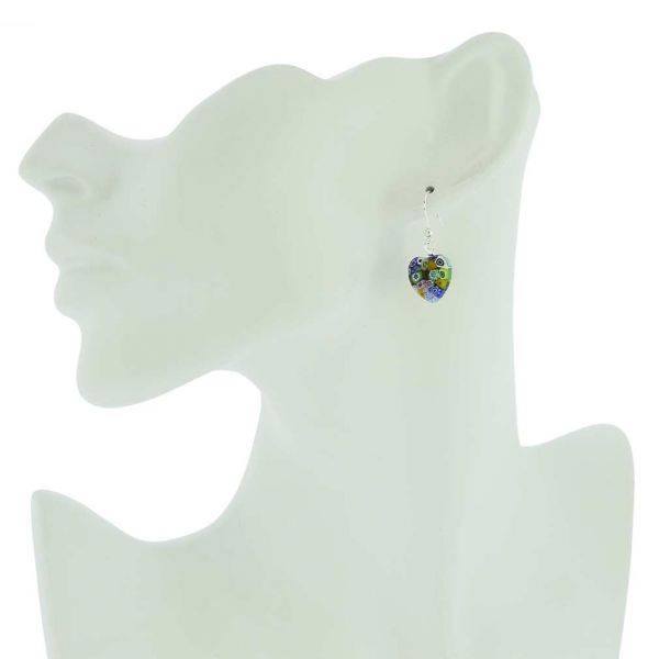 Millefiori Heart Earrings - Silver Multicolor