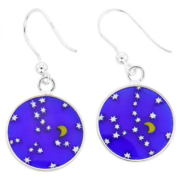 """Millefiori Round Dangle Earrings \""""Moon and Stars\""""- Silver"""