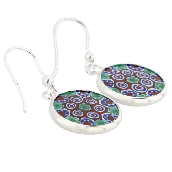 Millefiori Round Dangle Earrings - Silver